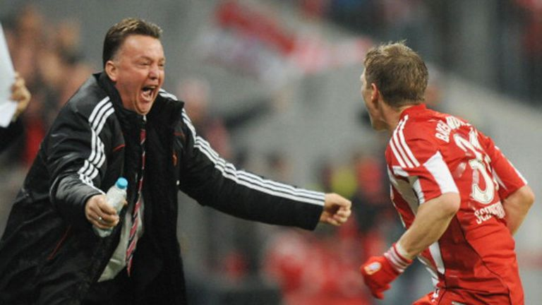 Louis van Gaal and Schweinsteiger celebrate in 2010
