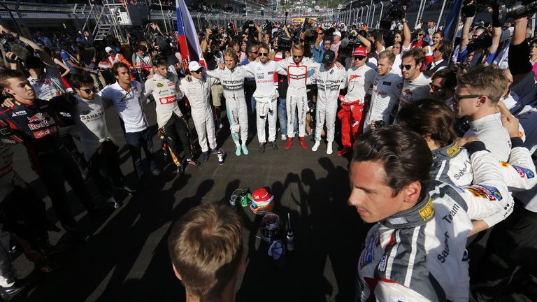 F1's drivers paying respect to Bianchi at last year's Russian GP, the race after the Frenchman's accident at Suzuka