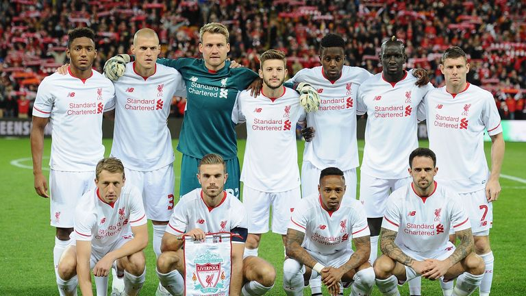Liverpool's XI v Brisbane Roar (back left to right:) Gomez, Skrtel, Mignolet, Lallana, Origi, Sakho, Milner. (Bottom left to right:)  Lucas, Henderson, Clyne, Ings
