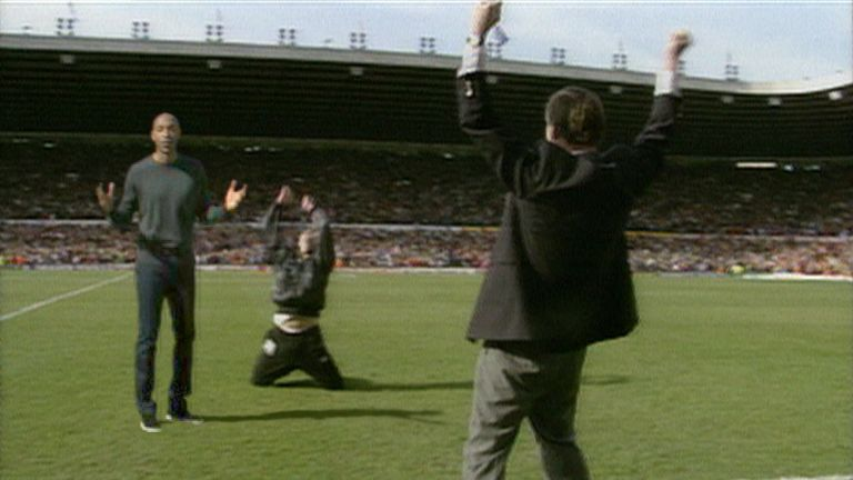 Thierry Henry joins in with Sir Alex Ferguson and Brian Kidd's legendary celebrations in 1993 as part of Sky Sports' hi-tech new advert