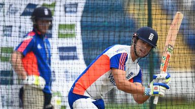 Ben Stokes watches Alastair Cook work to leg in the nets