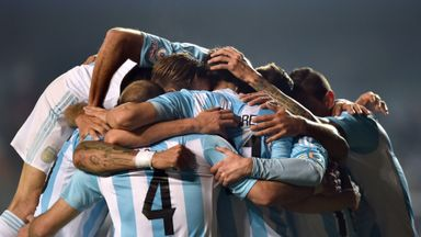 Argentina's midfielder Javier Pastore celebrates with teammates