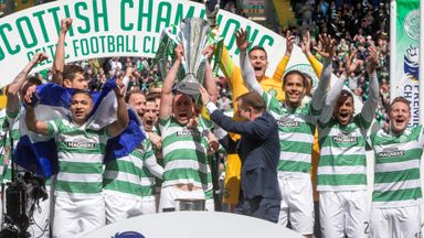 Champions Celtic lift the Scottish Premiership trophy last season.