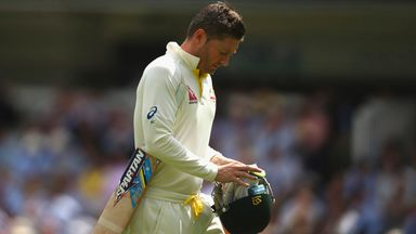 Michael Clarke of Australia looks dejected after being dismissed by Mark Wood