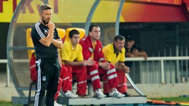 Aberdeen manager Derek McInnes looks on as his team draws 1-1 with FC Shkendija in Macedonia