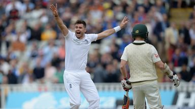 James Anderson successfully appeals for the wicket of David Warner