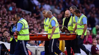 Enner Valencia is carried off the Upton Park pitch on Thursday evening