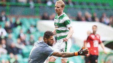 Gary Mackay-Steven scores the second goal for Celtic against Stade Rennes