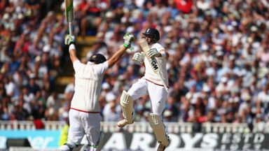 Joe Root (right) and Ian Bell of England celebrate victory at Edgbaston