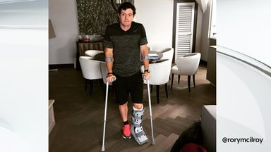 McIlroy posted this image on Instagram after rupturing his ankle ligaments