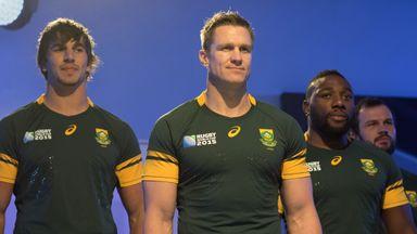 (Left to right) Eben Etzebeth, captain Jean de Villiers and Tendai Mtawarira of South Africa