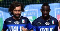 Andrea Pirlo (left) and Mario Balotelli on Italy duty