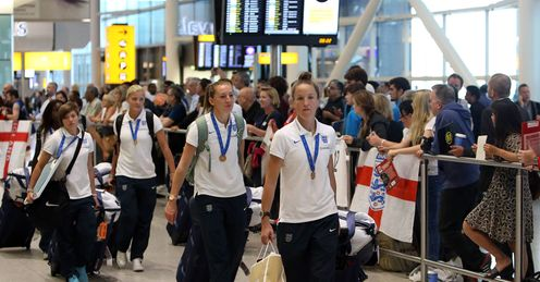 England women's team: Arrive at Heathrow after the Women's World Cup