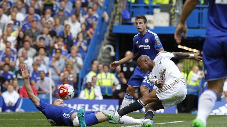 Swansea's Andre Ayew scored on his Premier League debut at Chelsea