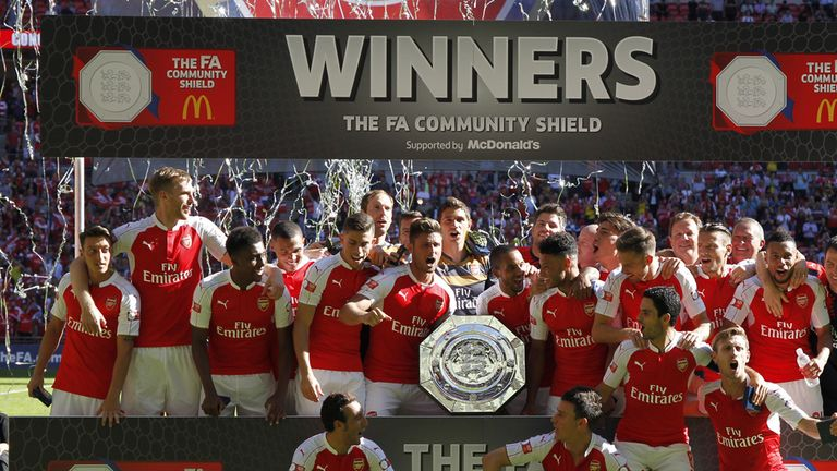 Arsenals celebrate beating Chelsea 1-0 in August's Community Shield