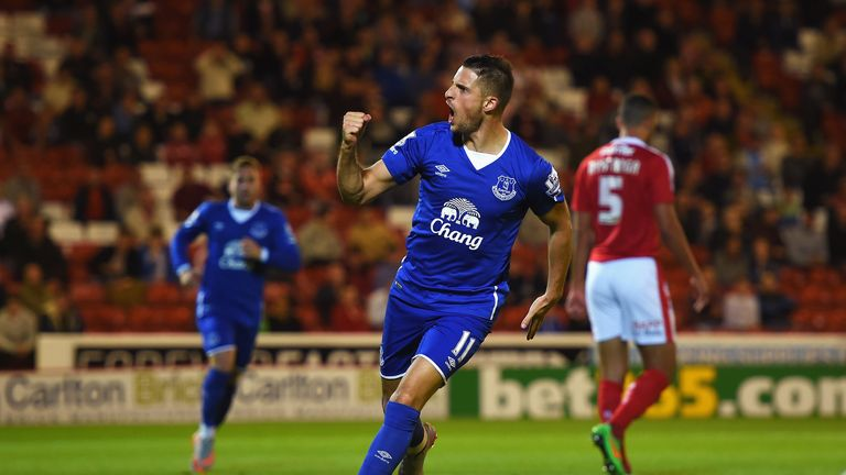 Mirallas celebrates scoring against Barnsley in a rare start in the Capital One Cup