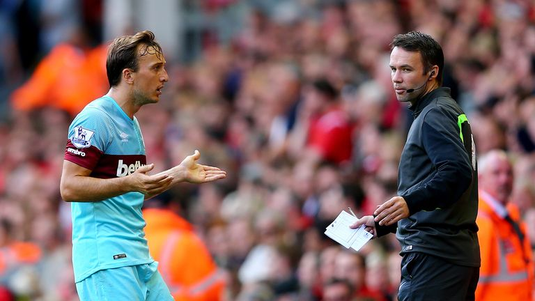 West Ham's Mark Noble was left baffled by his red card at Anfield