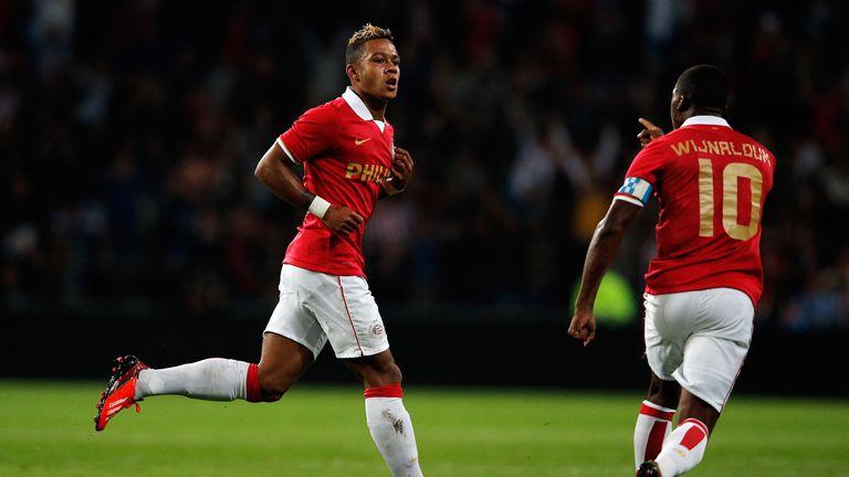 Memphis Depay (left) of PSV Eindhoven celebrates with Georginio Wijnaldum