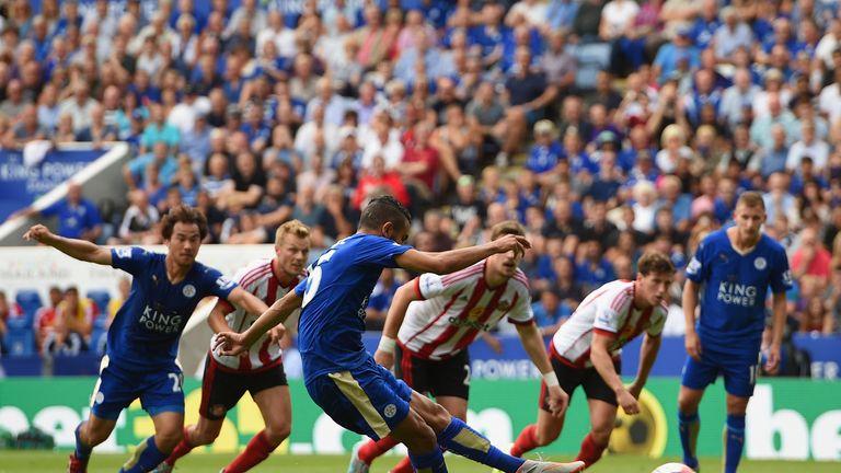 Riyad Mahrez scoring from the spot for Leicester against Sunderland