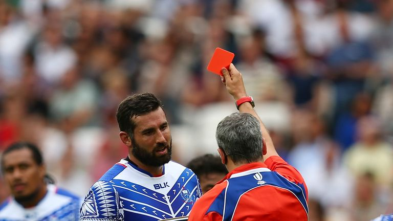 Samoa second row Kane Thompson is shown a red card by referee John Lacey