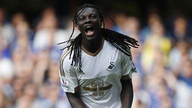 Swansea striker Bafetimbi Gomis celebrates his goal against Chelsea