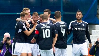 Dundee's Rory Loy (third from left) celebrates one of his goals in the 4-0 win over Kilmarnock.