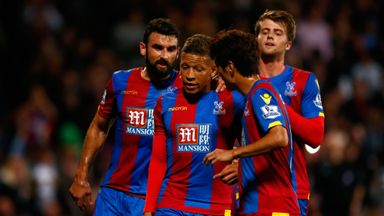 Crystal Palace forward Dwight Gayle (centre) is set to make his comeback from injury against the Hornets this weekend