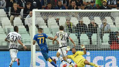 Cyril Thereau (centre) of Udinese Calcio scores the winner at Juventus