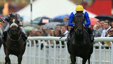 Kodi Bear, ridden by Gerald Mosse, comes clear of Gabrial to win well