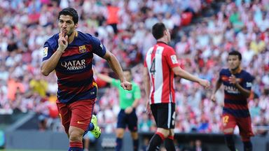 Luis Suarez celebrates what would prove to be the winning goal