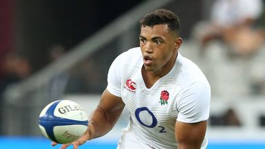 Luther Burrell catches the ball during the World Cup warm-up match with France