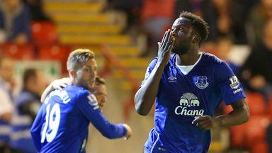 Romelu Lukaku celebrates one of his two goals