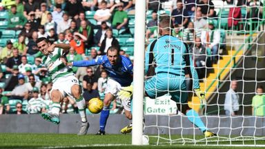 Celtic's Tom Rogic (left) puts his side ahead for the first time just before half-time