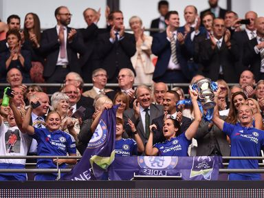 Chelsea lift the SSE Women's FA Cup trophy