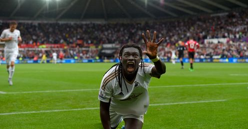 Bafetimbi Gomis: Celebrates scoring Swansea's winner