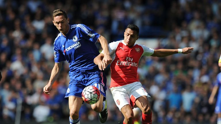Nemanja Matic (left) competes for the ball with Alexis Sanchez