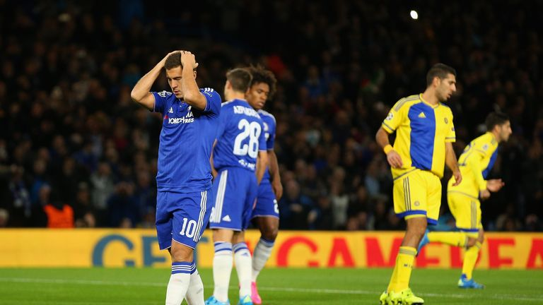 Hazard looks dejected after missing a penalty during a Champions League game against Maccabi Tel-Aviv