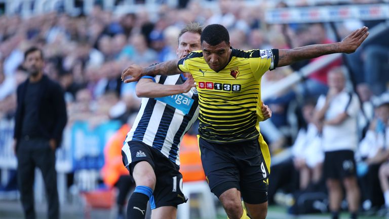 Siem De Jong tackles Troy Deeney in their meeting earlier this season