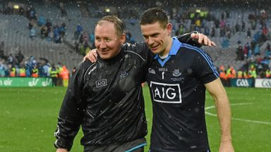 Dublin manager Jim Gavin celebrates with captain Stephen Cluxton after Sunday's All-Ireland final