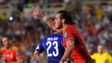 Wales striker Gareth Bale celebrates after scoring what proved the decisive goal