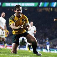 Bernard Foley celebrates after scoring his brilliant second try against England