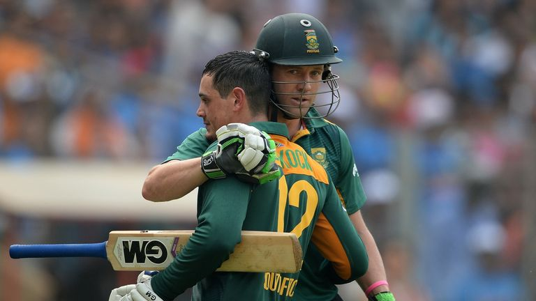 De Villiers and fellow centurion Quinton de Kock embrace as South Africa clinch series win over India