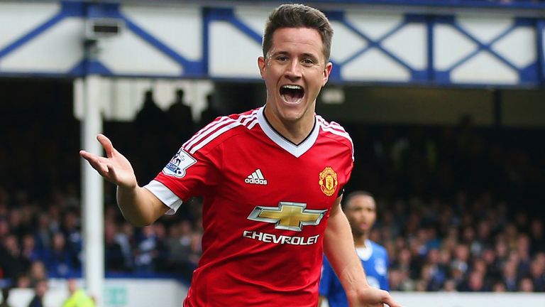 Ander Herrera headed home Manchester United's second goal at Everton