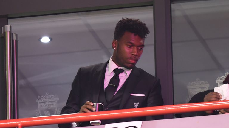 Daniel Sturridge watched from the stands during the UEFA Europa League Group B match between Liverpool and Rubin Kazan