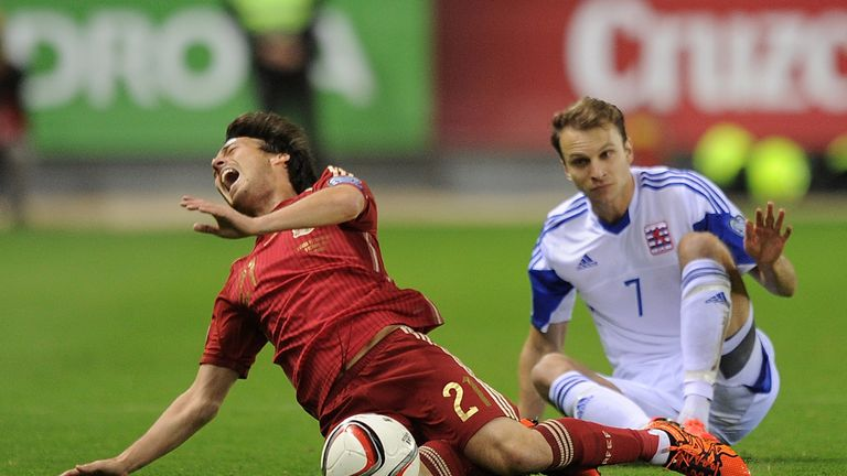 David Silva was injured by a tackle by Luxembourg's Lars Gerson