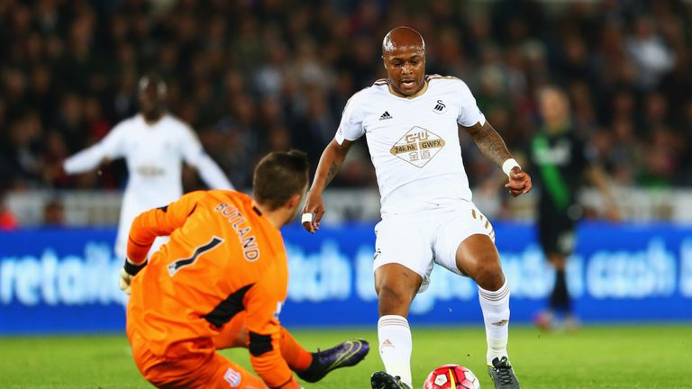 Jack Butland made a last-ditch tackle on Andre Ayew