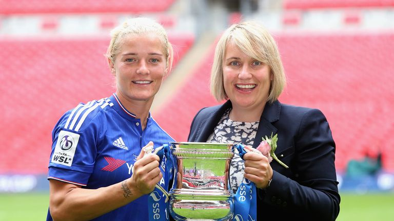 Chelsea captain Katie Chapman celebrated a league and cup double in 2015.