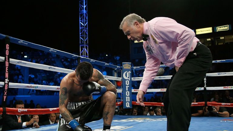 Matthysse is counted out after he was knocked down by Postol