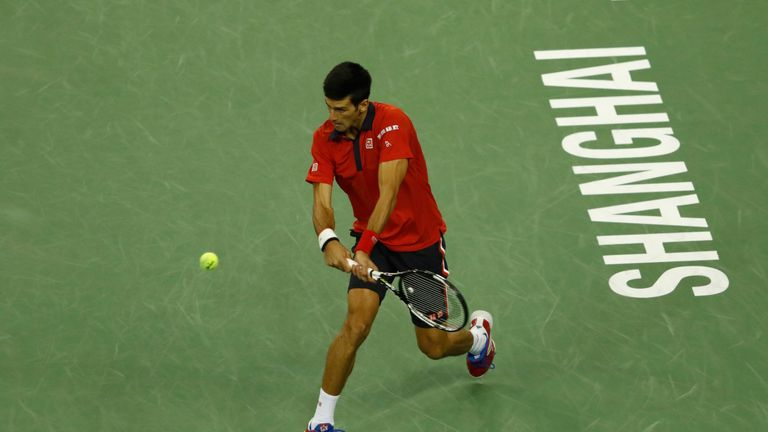 Novak Djokovic focused on Tsonga's serve