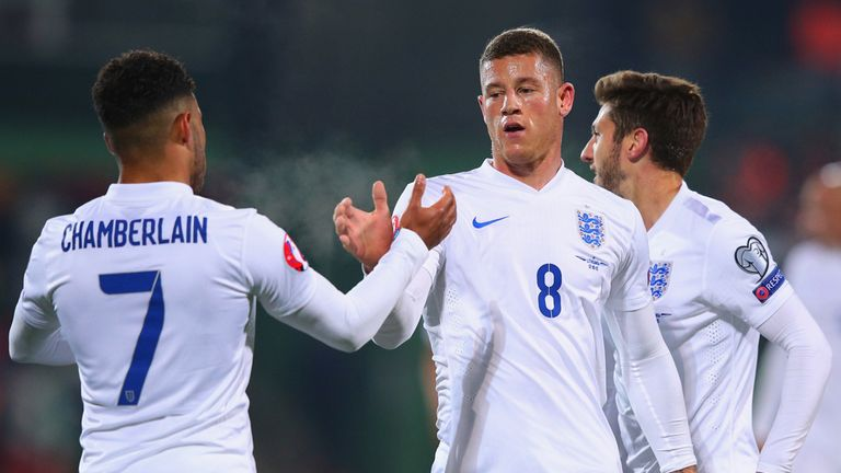 Ross Barkley (middle) celebrates after giving England the lead